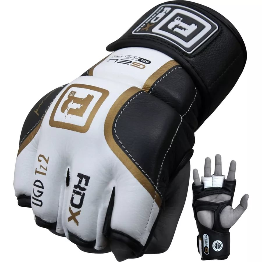 Перчатки для ММА RDX White Black Leather Gel Tech Grappling Gloves